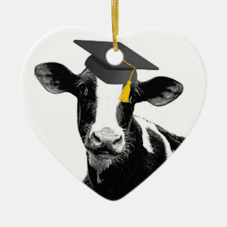 Congratulations Graduation Funny Cow in Cap Ceramic Heart Decoration