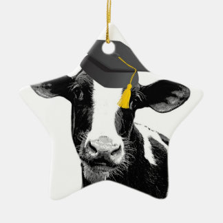 Congratulations Graduation Funny Cow in Cap Ceramic Star Decoration