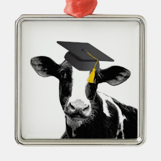 Congratulations Graduation Funny Cow in Cap Christmas Ornament
