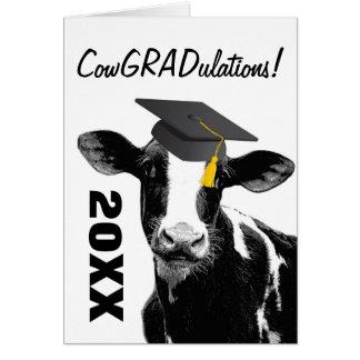 Congratulations Graduation Funny Cow in Cap Greeting Card