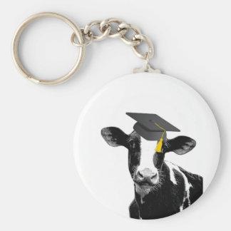 Congratulations Graduation Funny Cow in Cap Key Ring