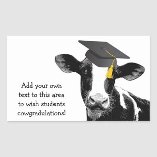 Congratulations Graduation Funny Cow in Cap Rectangular Sticker