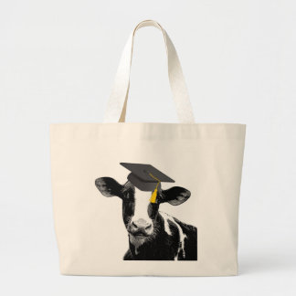 Congratulations Graduation Funny Cow in Cap Tote Bags