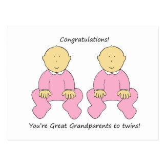 Congratulations Grandparents to twin girls. Postcard