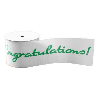Congratulations Green Casual Script Grosgrain Ribbon
