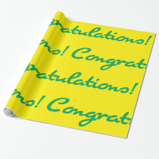 Congratulations! Green Casual Script Wrapping Paper