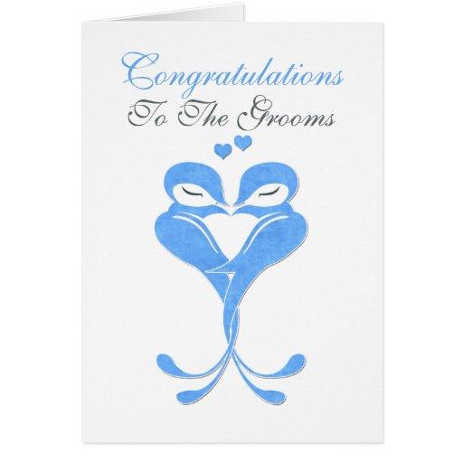 Congratulations Grooms Love Birds Gay Wedding Cards
