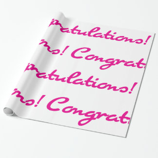 Congratulations! Hot Pink Casual Script Wrapping Paper