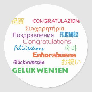 Congratulations in Many Languages Sticker