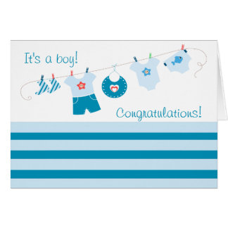 Congratulations Its a Boy Blue Clothes Card