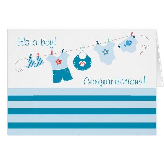 Congratulations Its a Boy Blue Clothes Card