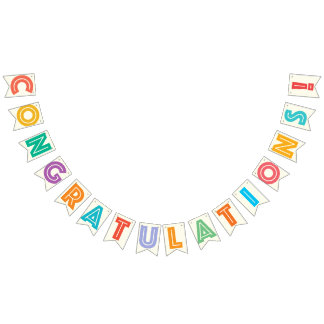 CONGRATULATIONS - IVORY WHITE & MULTICOLOR TEXT BUNTING