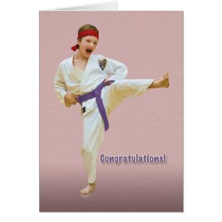 Congratulations, Karate Belt Advancement, Purple Greeting Card