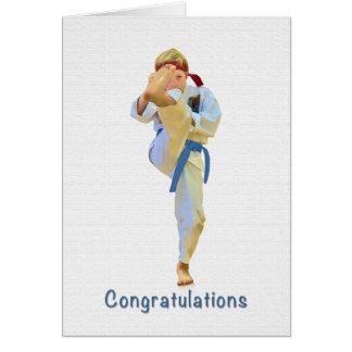 Congratulations, Karate Kicking Blue Belt Card
