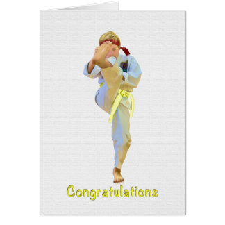 Congratulations, Karate Kicking Yellow Belt Card