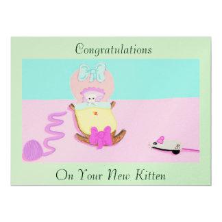 Congratulations; Kitten 17 Cm X 22 Cm Invitation Card