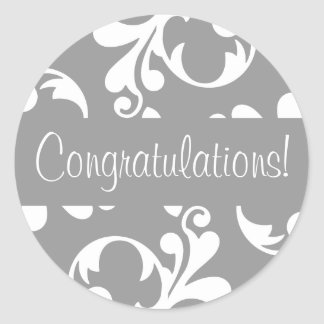 Congratulations Leaf Flourish Envelope Seal Round Sticker