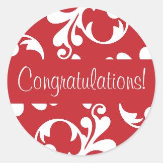 Congratulations Leaf Flourish Envelope Seal Round Sticker