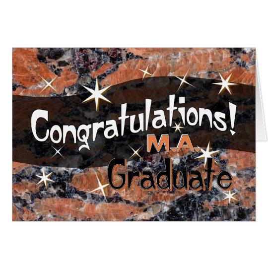 Congratulations M.A. Graduate Orange and Black Card