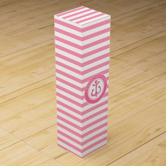 Congratulations | Nautical Pink Anchor Wine Box