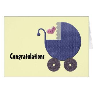 Congratulations New Baby Boy with Blue Pram Art Greeting Card