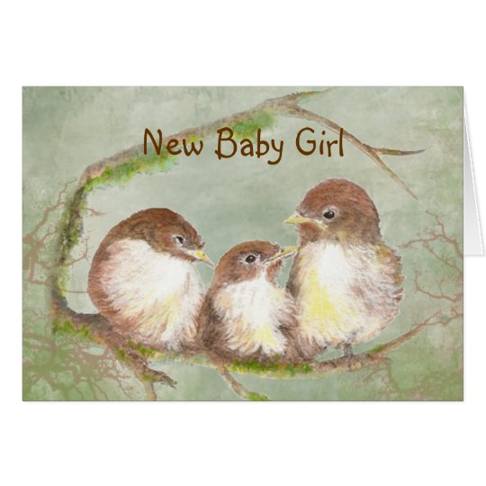 Congratulations New Baby Girl Cute Bird Family Card