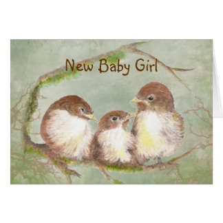 Congratulations New Baby Girl Cute Bird Family Greeting Card
