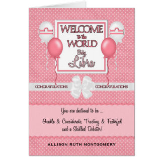 Congratulations New Baby Girl Libra Card