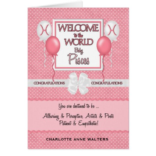 Congratulations New Baby Girl Pisces Greeting Cards