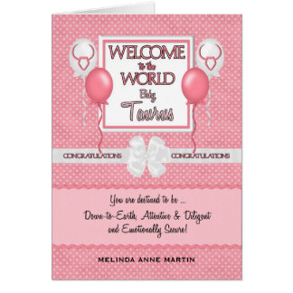 Congratulations New Baby Girl Taurus Card