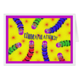 Congratulations New Baby Worm Fuzzies Greeting Card