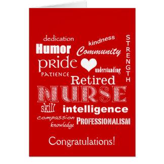 Congratulations Nurse Retirement-Red Greeting Card