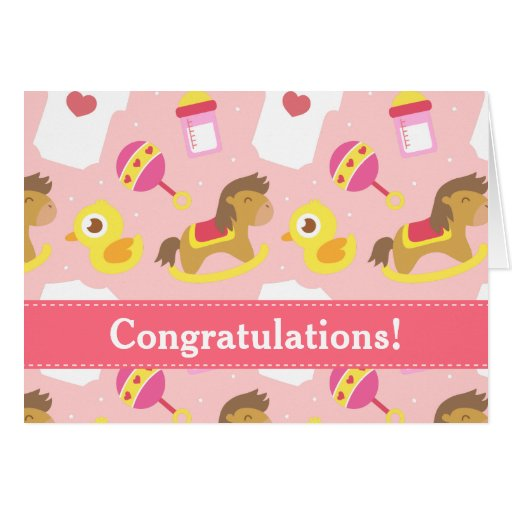 Congratulations on Birth of Baby Girl Greeting Cards