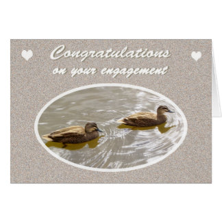 Congratulations on Engagement, Pair of Wood Ducks Greeting Card