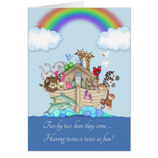 Congratulations on expecting Twins - Noah's Ark Greeting Card