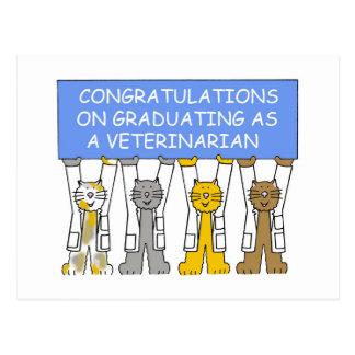Congratulations on graduating as a veterinarian. postcard