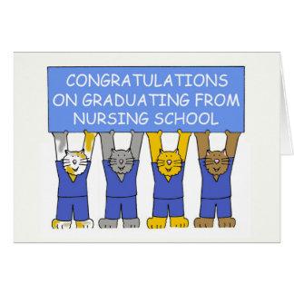 Congratulations on graduating from nursing school. greeting card