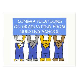 Congratulations on graduating from nursing school. postcard