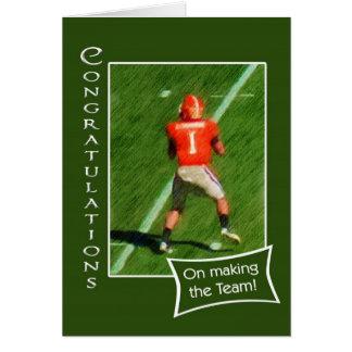 Congratulations on making football team greeting card