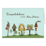 Congratulations on New Home Birdhouses & Flags Greeting Card