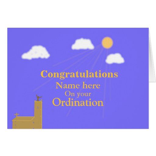Congratulations on Ordination customize add name Greeting Cards