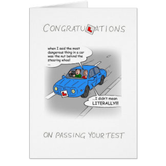 Congratulations on passing your driving test. card
