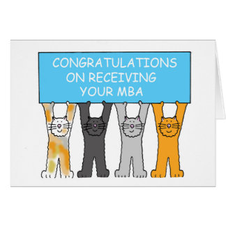 Congratulations on receiving your MBA, cartoon cat Card