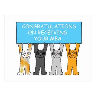 Congratulations on receiving your MBA, cartoon cat Postcard
