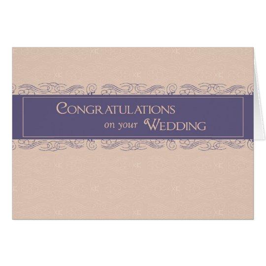 Congratulations on Wedding, Plum and Peach Colours Card