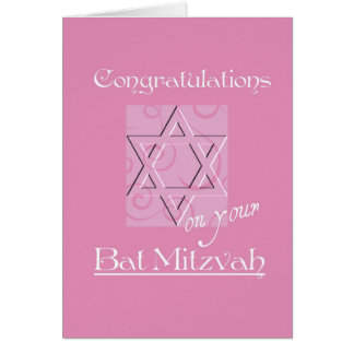 Congratulations on your Bat Mitzvah!-Pink Greeting Card