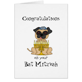 Congratulations on your Bat Mitzvah-Pug Dog Greeting Card