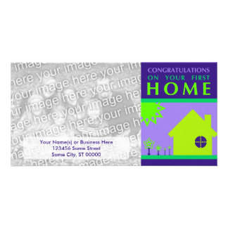 congratulations on your first home (purple shapes) customised photo card