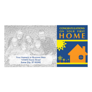 congratulations on your first home (sunset shapes) personalized photo card