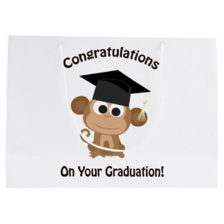 congratulations on your graduation monkey large gift bag